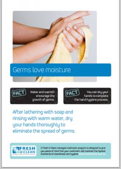 A3 Hygiene Poster: Germs love moisture