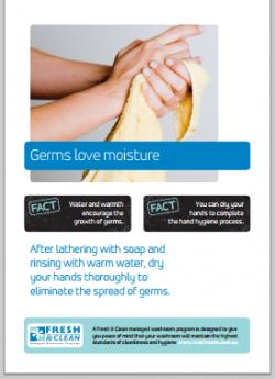 A4 Hygiene Poster: Germs love moisture