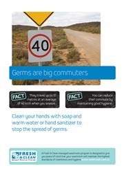 A3 Hygiene Poster: Germs are big commuters