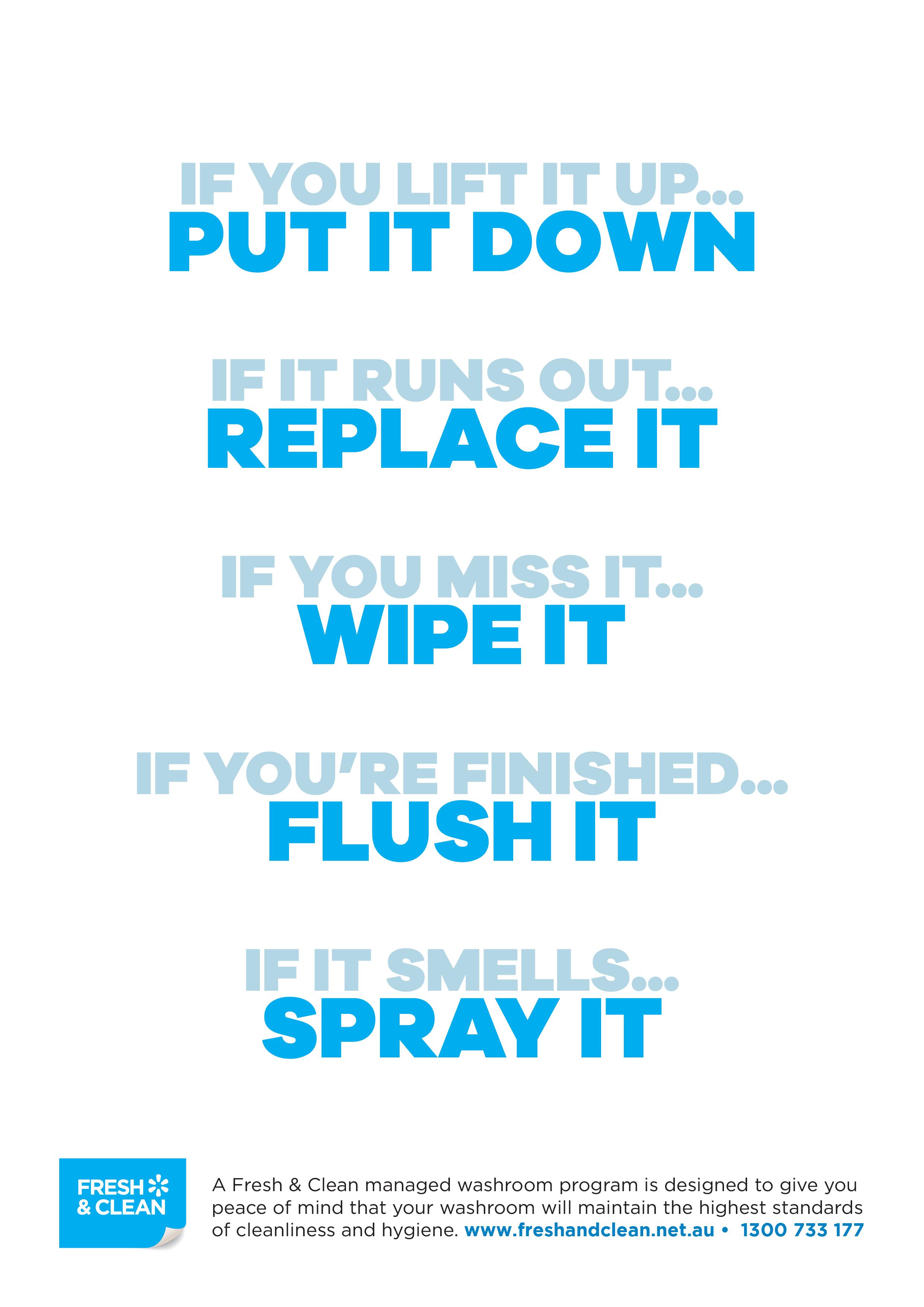 Toilet Etiquette Cubicle Posters - Fresh & Clean